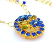 Sapphire blue gold necklace, gold filled and crystal