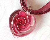 Burgundy red heart necklace, glass