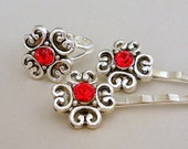 Red ring and hair pins, crystal, antiqued silver
