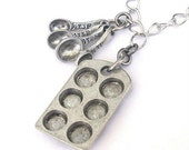 Cook necklace, bakers necklace, muffin pan, cupcake pan, measuring spoons, antiqued silver
