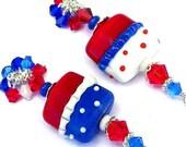 Red, white and blue earrings, July 4 polka dot cluster earrings, patriotic lampwork glass, Swarovski crystal