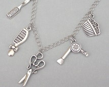 Hair stylist necklace or bracelet, hairdresser charm necklace or hairdresser bracelet, scissors, comb, brush, hair dryer, antiqued silver