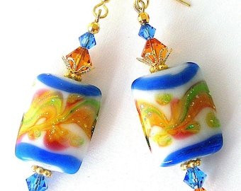 Blue and topaz earrings, lampwork glass and crystal