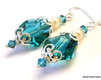 Teal blue crystal earrings, Swarovski Indicolite and pearls, teal bridal earrings, teal crystal, bridesmaids jewelry, sterling silver