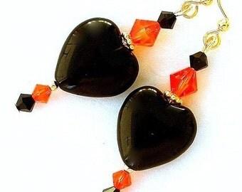 Black heart earrings, black and orange earrings, fire opal Swarovski crystal, Halloween earrings
