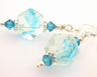 Turquoise ribbon earrings with Swarovski crystal