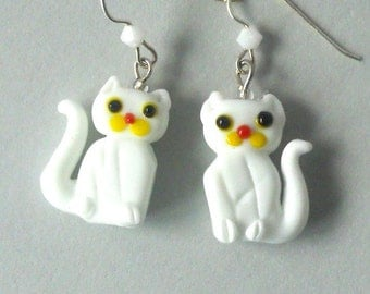 White cat earrings, lampwork glass, snow white