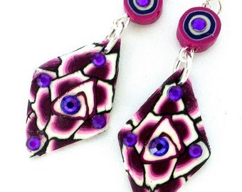 Amethyst purple earrings, purple polymer clay, diamond shape purple, boho purple, Swarovski crystal