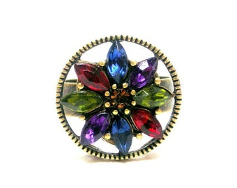 Multicolor adjustable ring, vintage style marquis ring