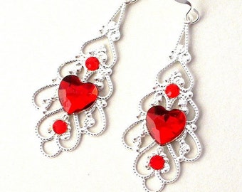 Red and silver filigree earrings, red heart earrings, romantic red hearts, gift for her under 20 dollars