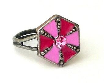 Magenta and pink ring, adjustable, pinwheel, cz stone