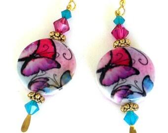 Butterfly shell earrings, Swarovski crystal