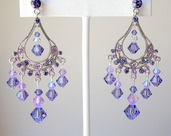 Purple crystal chandelier earrings, tanzanite Swarovski crystal earrings, tanzanite chandelier earrings, purple bridal earrings