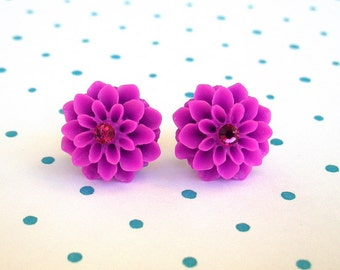 Orchid purple earrings, flower studs, dahlia studs, chrysanthemum post earrings