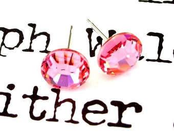 Light Rose Swarovski crystal stud earrings, 7mm pale pink posts, light pink rhinestone flatback crystals, Mother's Day gift