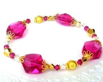 Swarovski fuchsia bracelet, fuchsia crystal and gold, birthday gift for her
