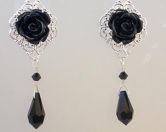 Black flower earrings, silver filigree post earrings, Swarovski crystal