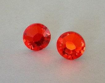 Stud earrings, Hyacinth orange Swarovski crystal earrings on posts