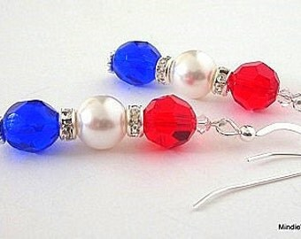 Red, white and blue crystal earrings, July 4 earrings, Swarovski pearl, Czech glass, patriotic earrings, sterling silver earwires
