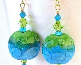 Blue and green earrings, lampwork glass, ocean waves