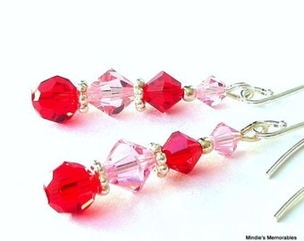 Red and pink earrings, Swarovski crystal red and pink earrings, pink and red crystal earrings, gift for her, pink bridal