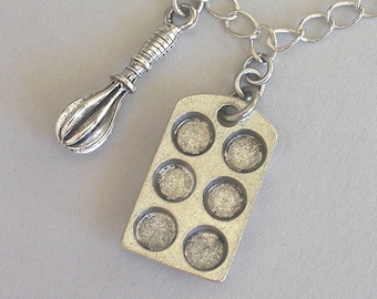 Bakers charm necklace, muffin pan, antiqued silver
