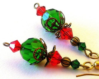 Emerald green and red earrings, vintage inspired