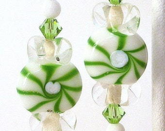 Green pinwheel earrings, wintergreen candy glass, holiday