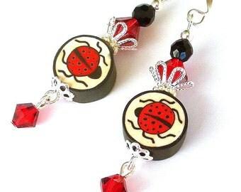 Ladybug earrings, polymer clay, Spring earrings Swarovski crystal, red, black and white, animal earrings