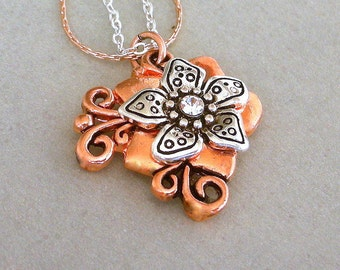 Mixed metal necklace, copper and antiqued silver flower pendant necklace