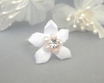 White flower ring, adjustable, snow white floral, camellia ring