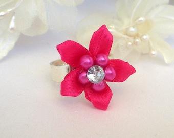 Magenta floral ring, adjustable, fuchsia camellia flower ring