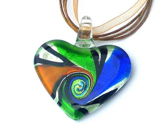 Multicolor heart necklace, swirled glass, colorful pendant, rainbow heart, birthday gift for her