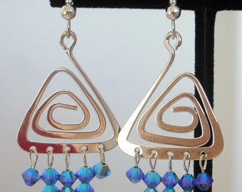Geometric silver and blue crystal earrings, Swarovski sapphire crystal and silver triangle earrings