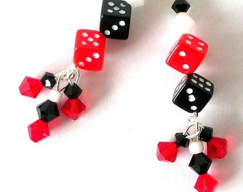 Lucky dice earrings, red and black dice, acrylic and Swarovski crystal