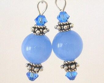 Cornflower blue earrings, Swarovski crystal and glass