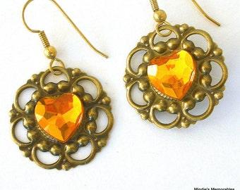 Topaz filigree earrings, faux rhinestone