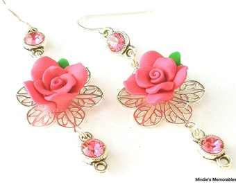 Pink rose earrings, silver filigree earrings, pink polymer clay flower earrings, birthday gift, gift for her
