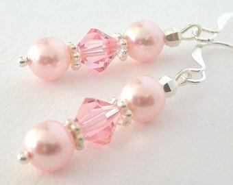 Pink earrings, pink bridal pearl and crystal, Swarovski rosaline, pink pearl earrings, bridesmaid gift, pastel pink, birthday gift for her