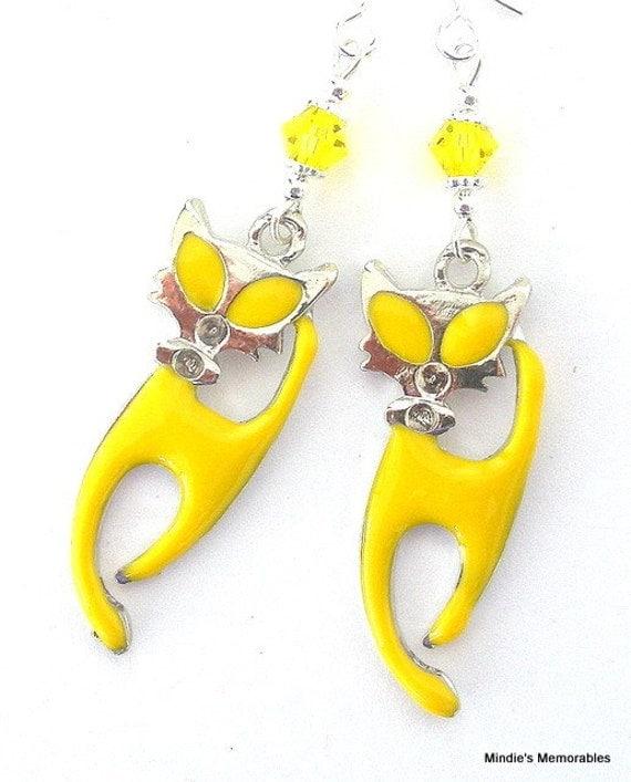Yellow cat earrings, sassy French cats, citrine enamel, Swarovski crystal