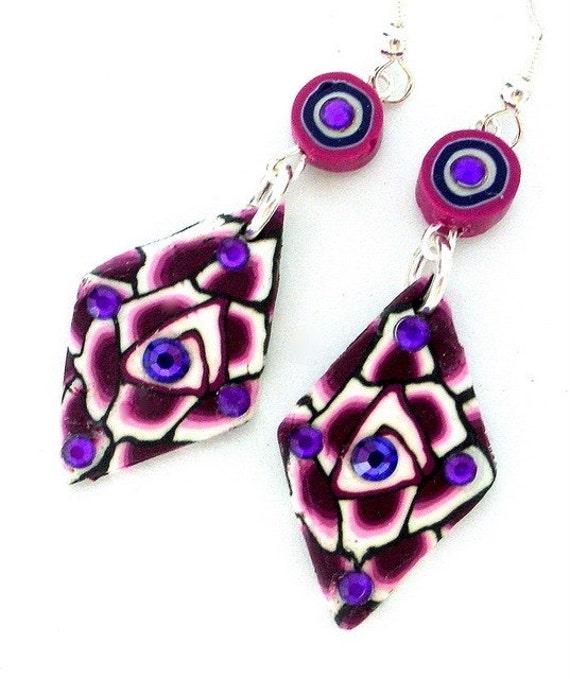 Amethyst purple earrings, purple polymer clay, diamond shape purple, boho purple, Swarovski crystal