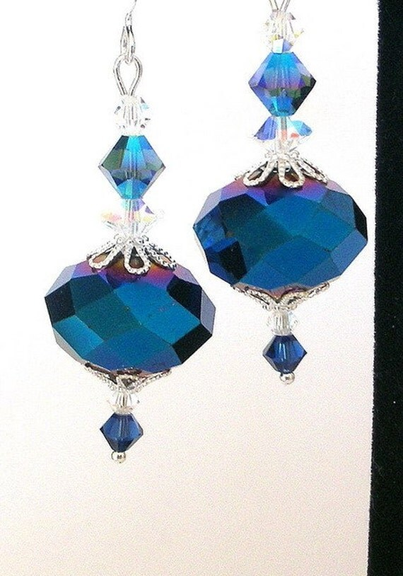 Fiery blue earrings, faceted crystal metallic
