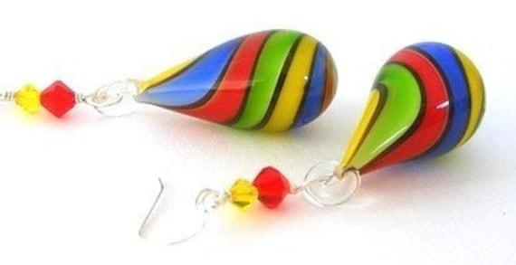 Rainbow earrings, rainbow blown glass, multicolor striped