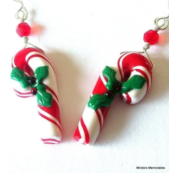 Red candy cane earrings, Christmas, polymer clay
