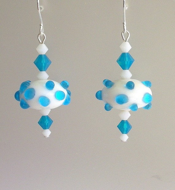 Aqua blue earrings, polka dot bumpy, lampwork glass and crystal