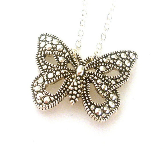 Butterfly necklace, antiqued silver butterfly pendant, marcasite style statement necklace, gift for gardener