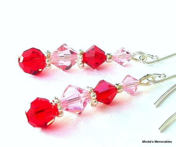 Red and pink earrings, Mother's Day gift, Swarovski crystal red and pink earrings, pink and red crystal earrings, gift for her