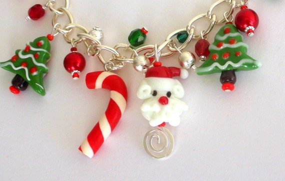 Christmas charm bracelet, lampwork glass, polymer clay