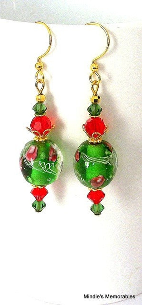 Green and red earrings, lampwork glass, Swarovsi crystal