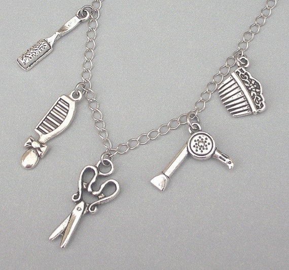 Hair stylist necklace or bracelet, hairdresser charm necklace or ...